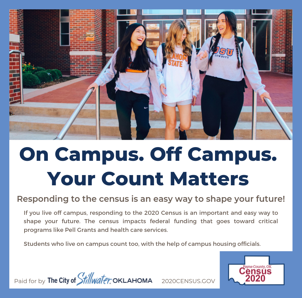 Census ad from Stillwater conveying information persuasive to students at OSU.