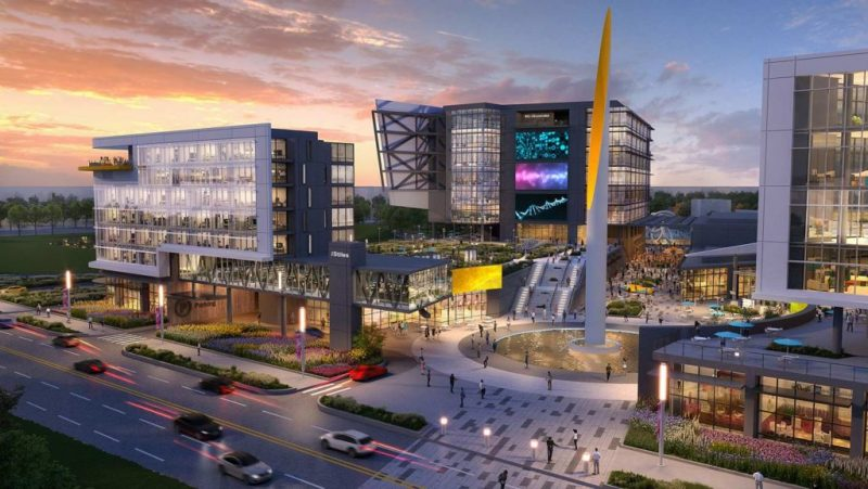 Architectural rendering showing the future plans for the Oklahoma City Innovation district