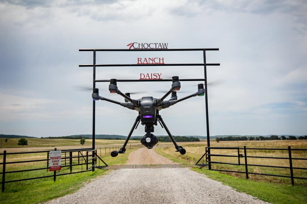Photo by Choctaw Nation: Drone hovering at Choctaw Nation's Daisy Ranch. Choctaw Nation will continue their partnership with the FAA Unmanned Aircraft System program, BEYOND.