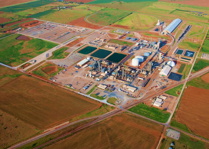 Aerial view of an industrial facility