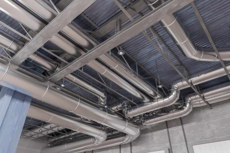 3D rendered illustration of HVAC system and pipes.