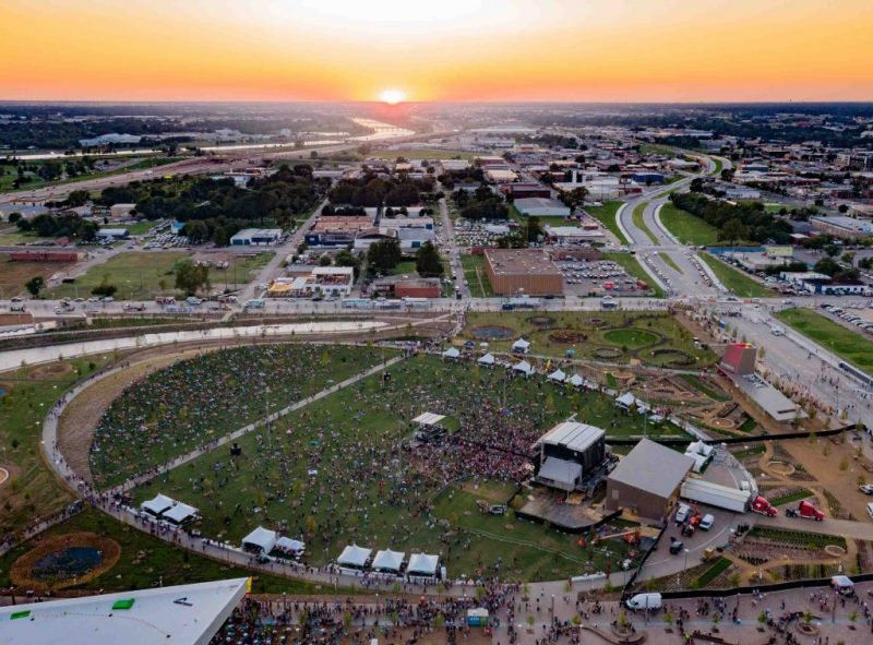 Aerial photo of a concert of Scissortail Park