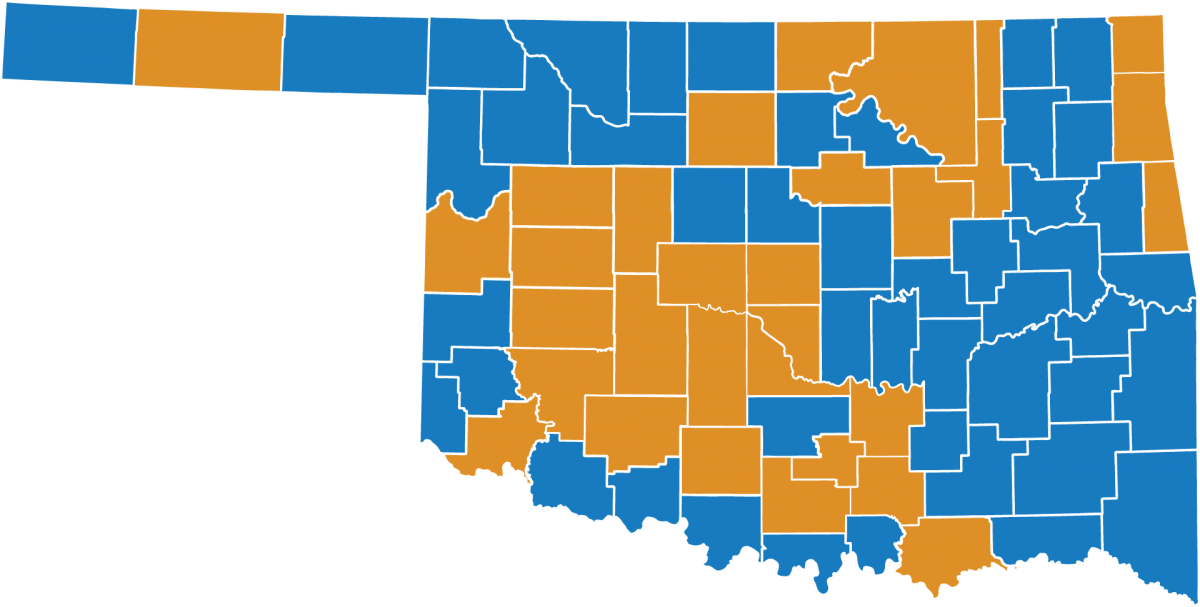 Oklahoma Map showing counties with new or expanded companies. See report for complete list.