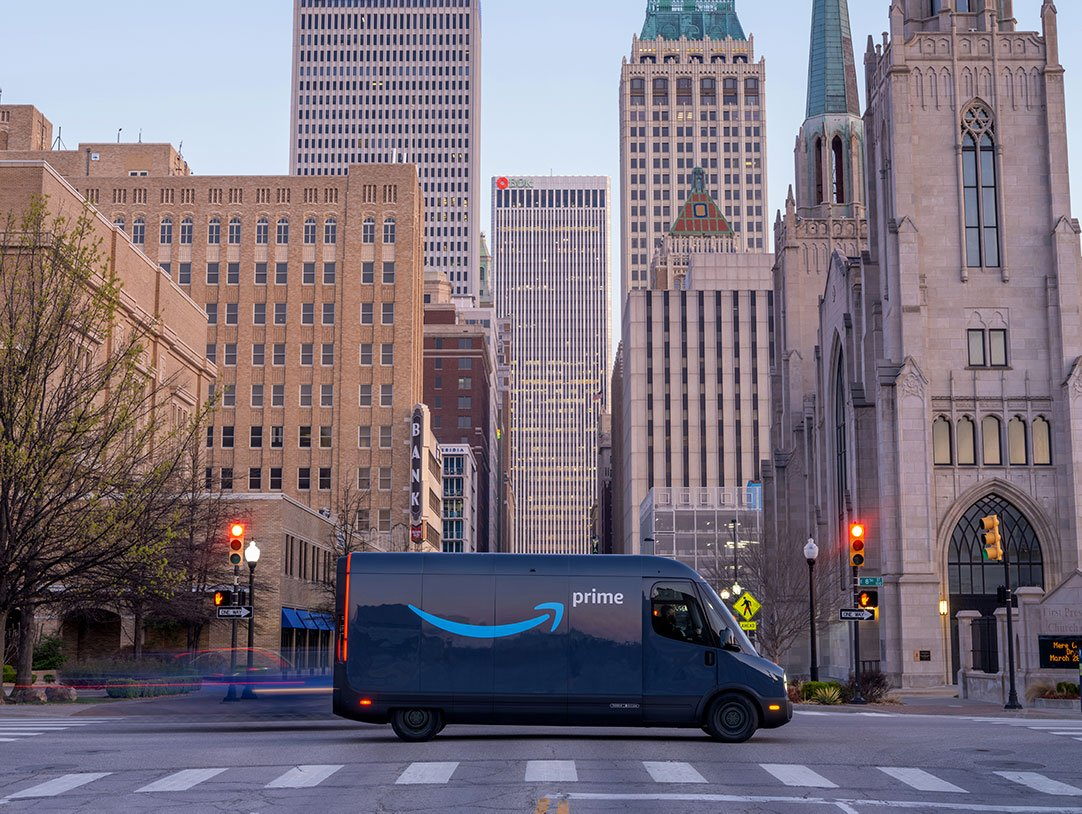 Amazon electric delivery van in downtown Tulsa Oklahoma