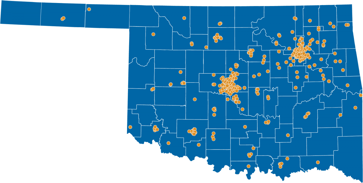 Map of Oklahoma showing clusters of aerospace entities