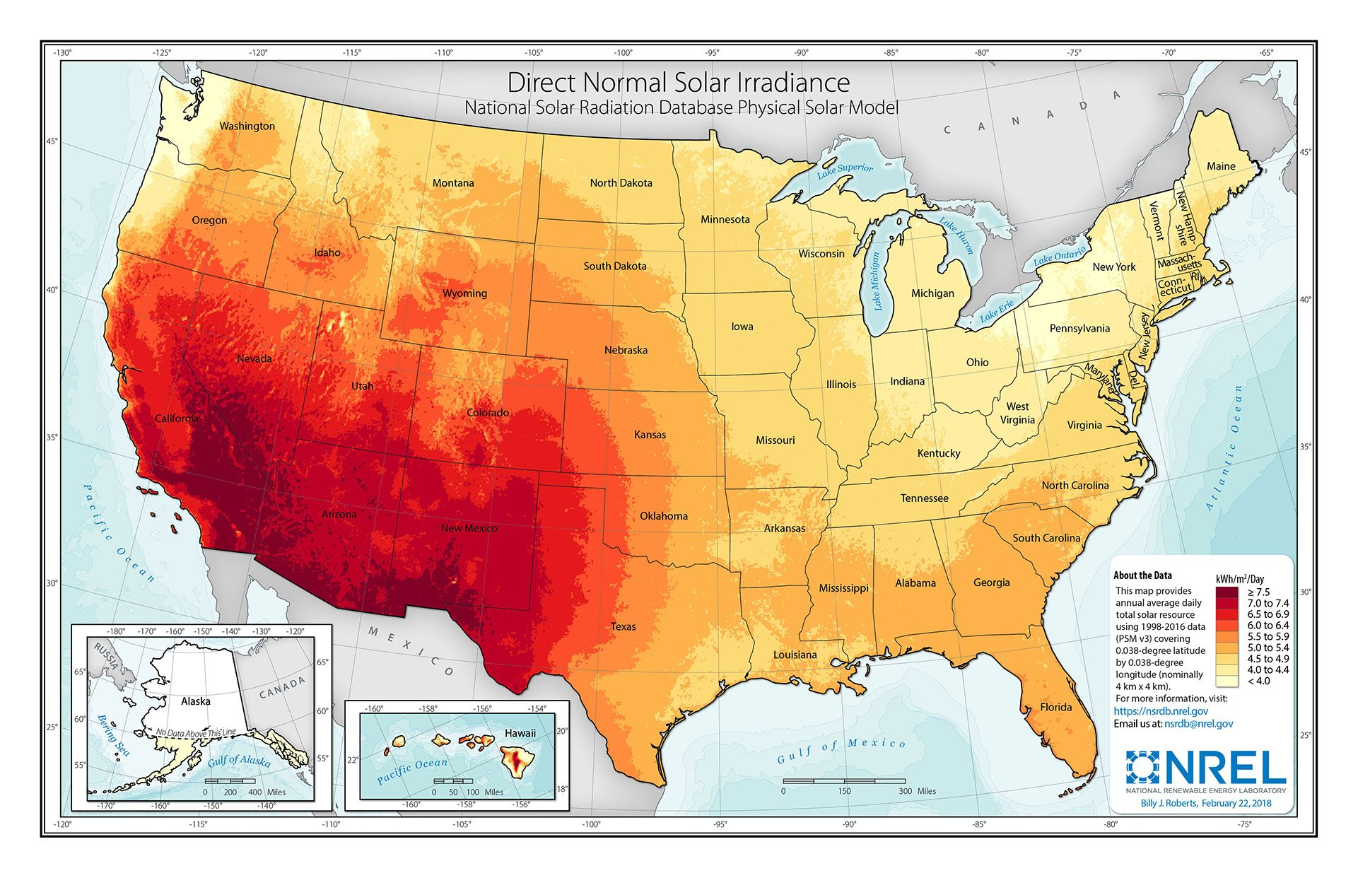 Map showing the United States and solar energy data as direct normal solar irradiance