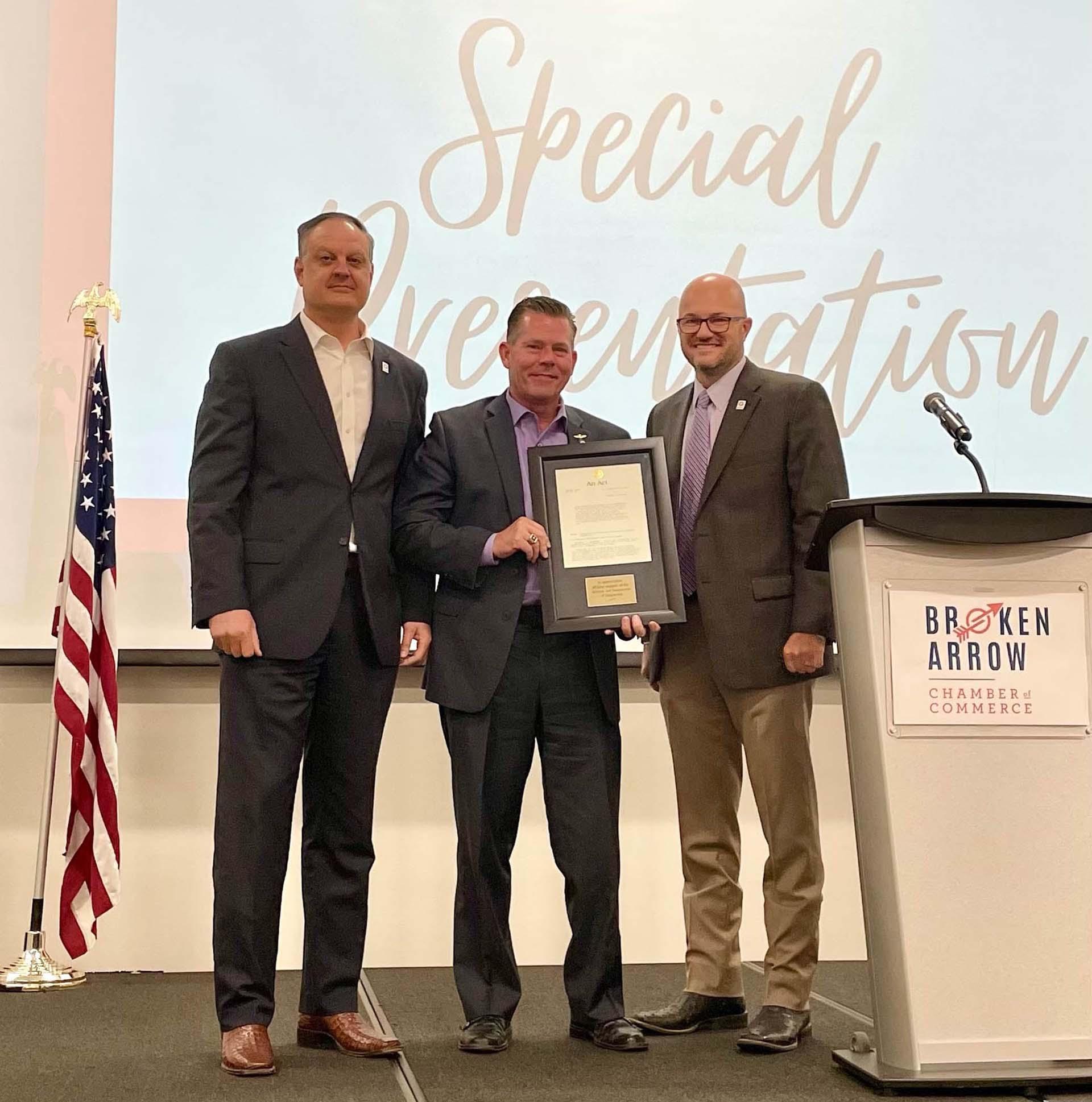 Rep McDugle incentive legislation award presentation