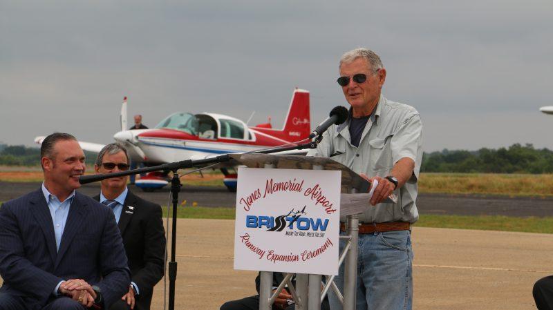 Senator Inhofe speaks at Jones Memorial Airport