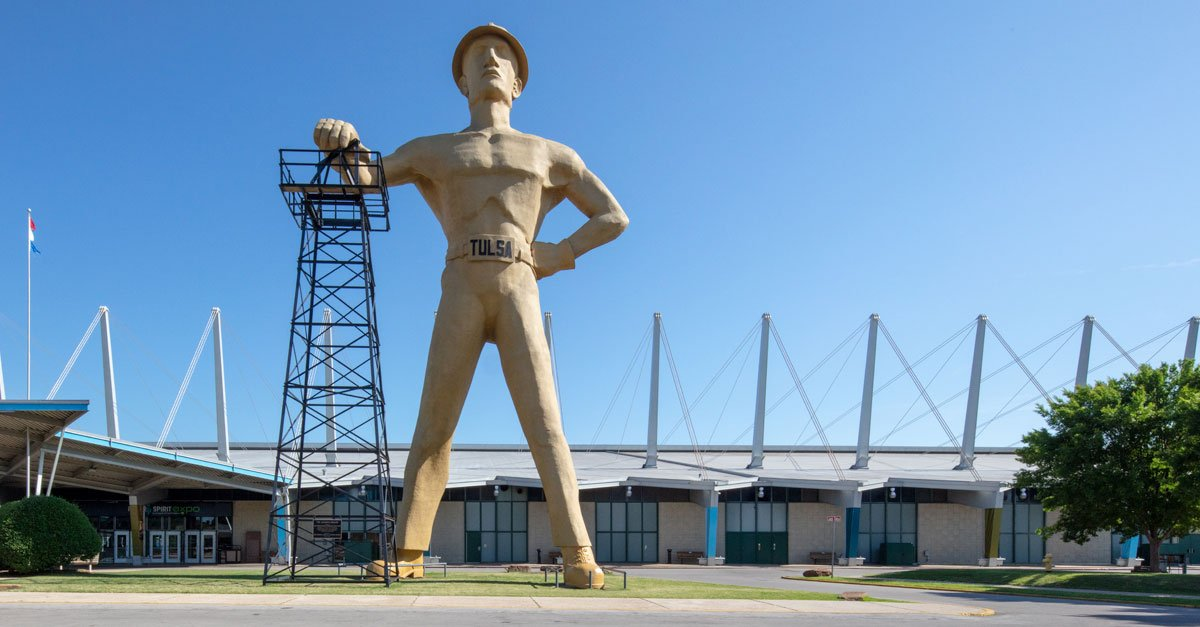 Photo showing the Tulsa Driller monument