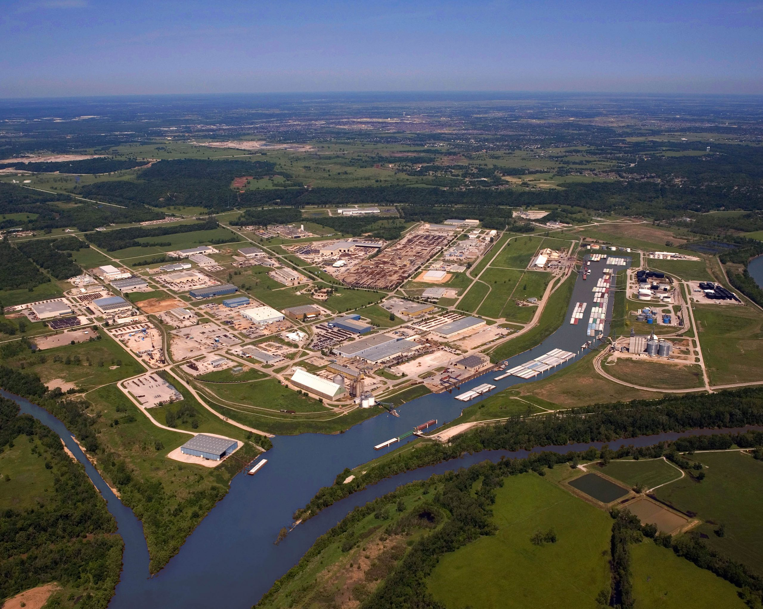 Aerial photo of the Port of Catoosa showing the river and port