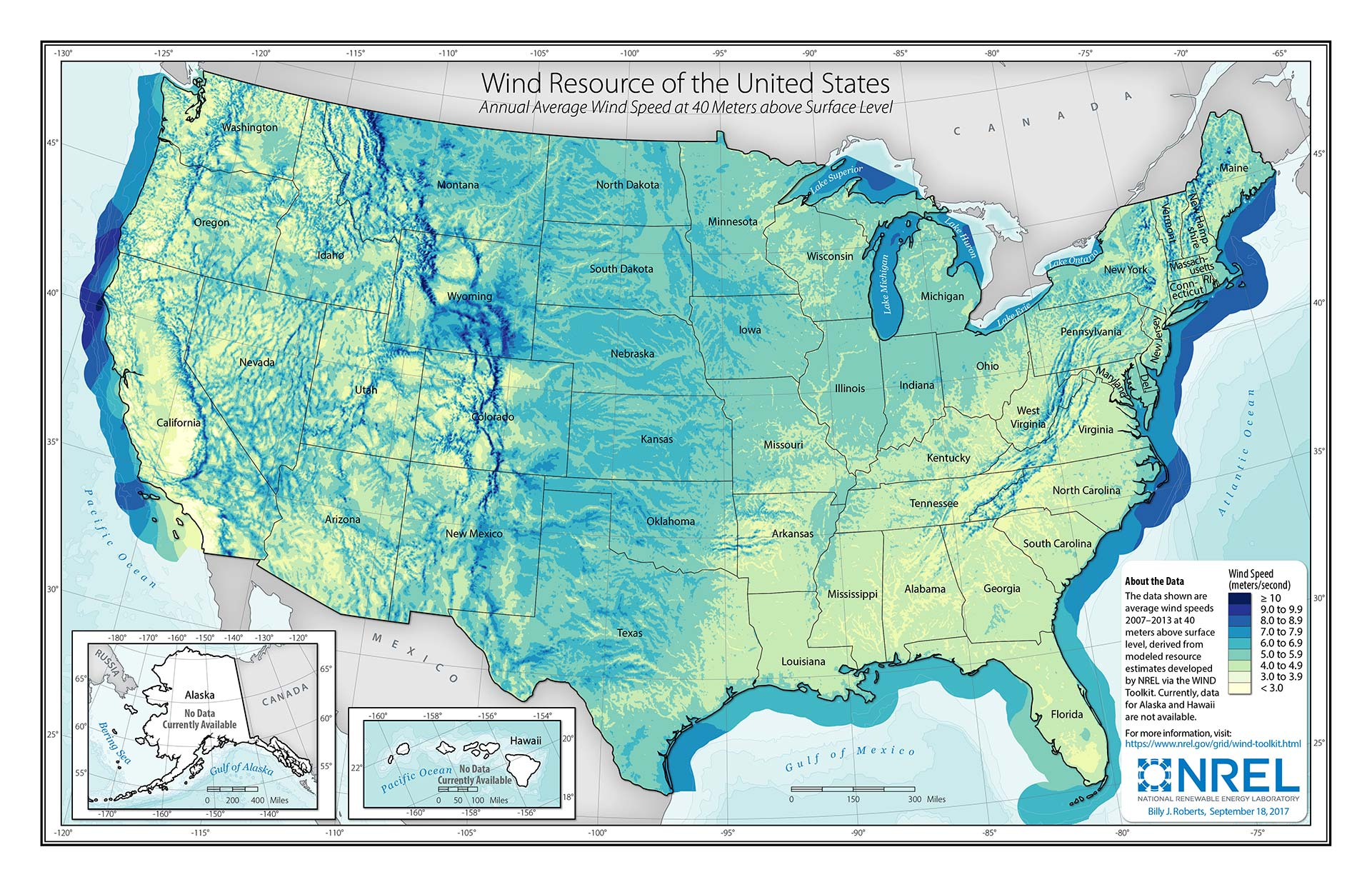 Map of the United States showing wind speed at 40 meters above surface level