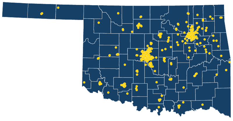Map of Oklahoma showing clusters of aerospace businesses