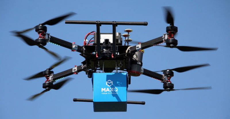 A drone from Oklahoma State University's Unmanned System Research Institute carries a specially designed container for biologics courtesy of MaxQ. The Stillwater startup has partnered with the university to research drone delivery solutions to address challenges in emergency response situations.