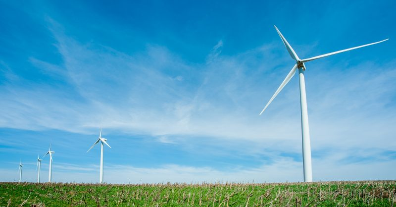 Wind Turbines in a row in green grass against blue sky.