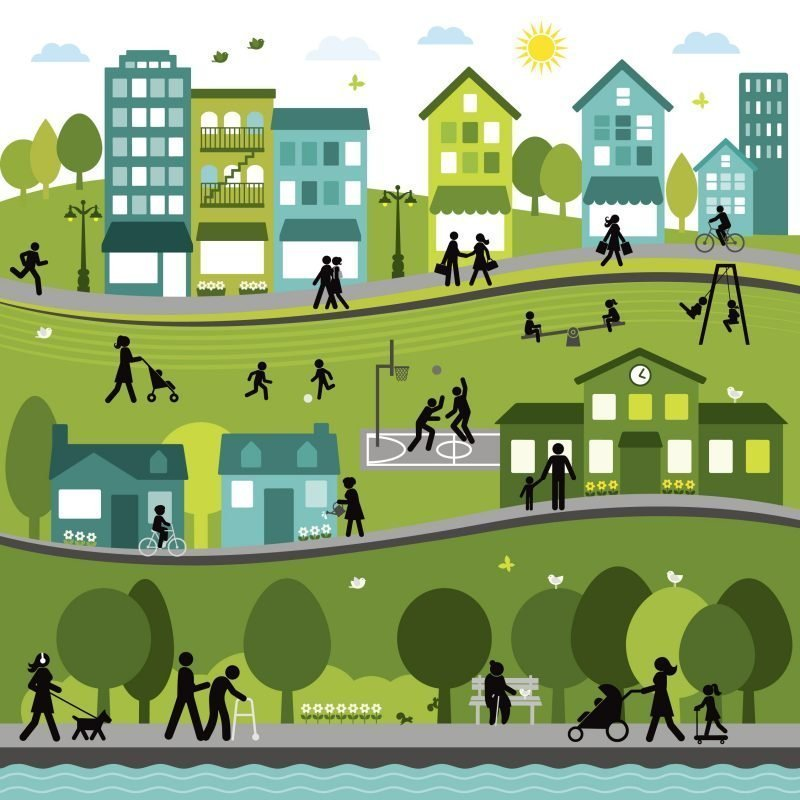 Illustration of an active town or city