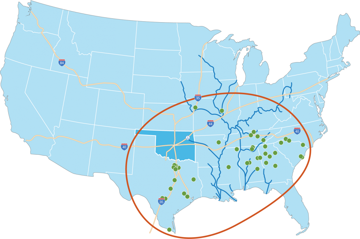 A map of the continental United States showing locations of automotive facilities across the southeastern part of the county and drawing attention to Oklahoma's proximity to them along with access to river ports and interstates.