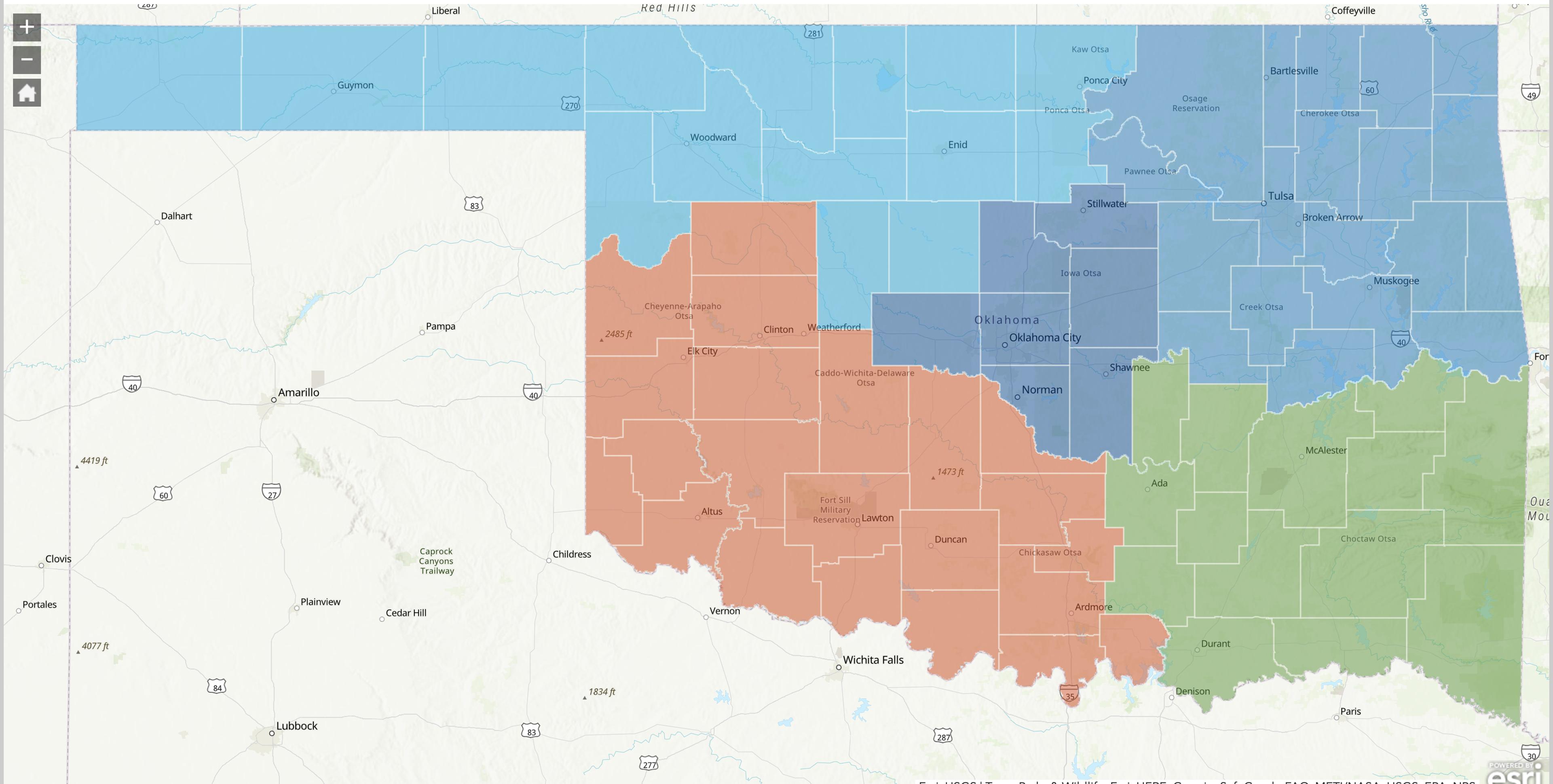 Map of Oklahoma's Commerce regions