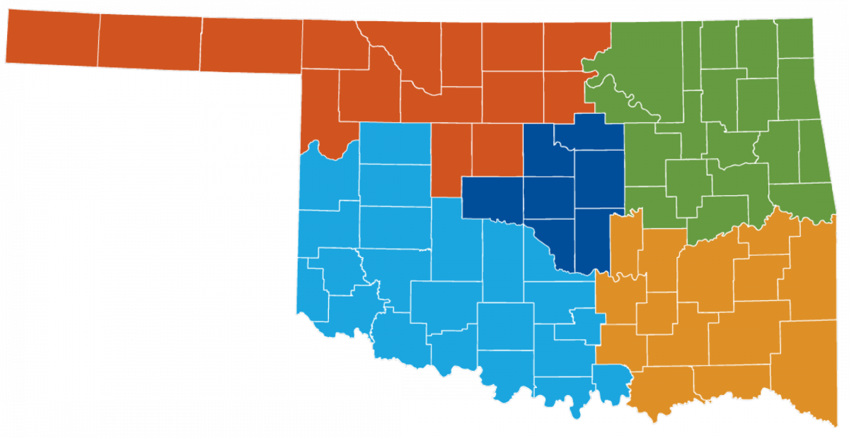 Oklahoma map showing counties in regional development. Call 405-815-6552 to be connected to the RDS serving your region