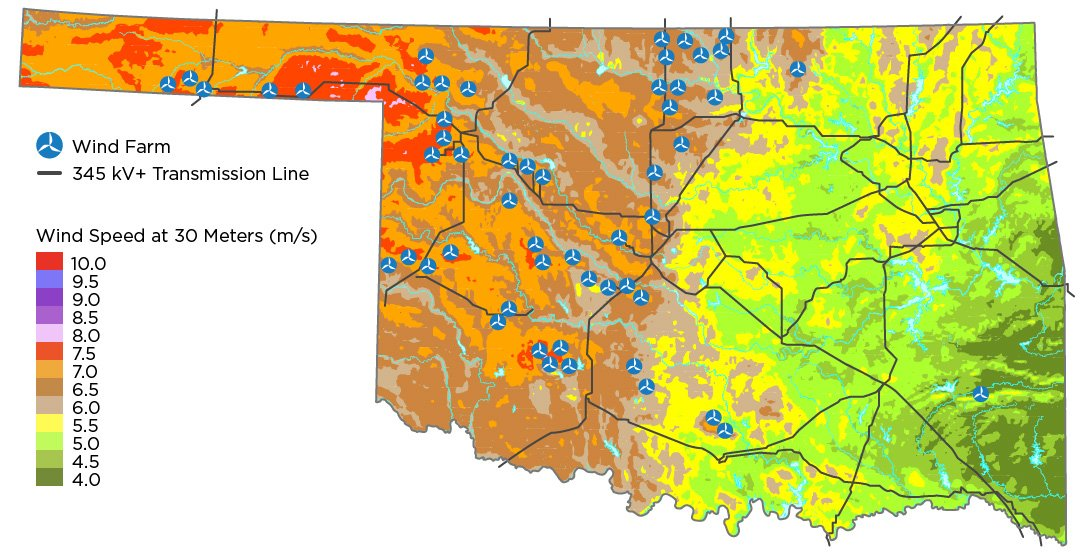Map of Oklahoma showing wind speeds and the location of wind farms and transmission lines