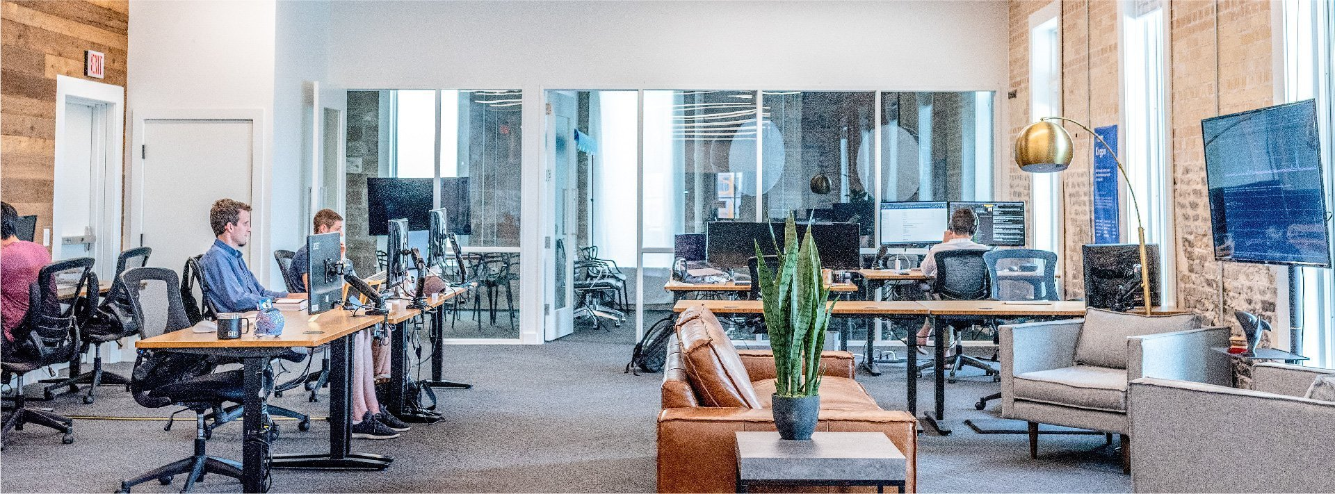 People working in a modern office