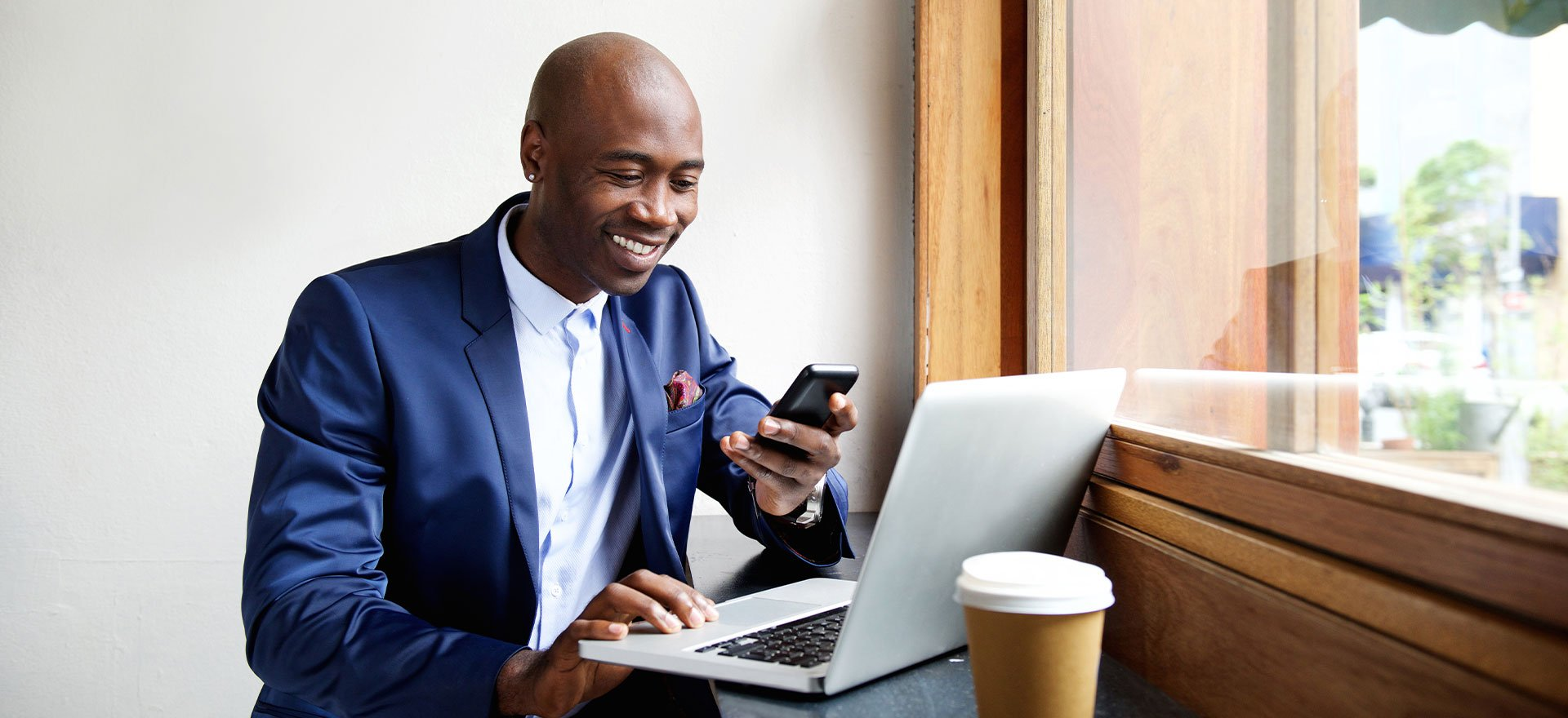 Business man checking phone