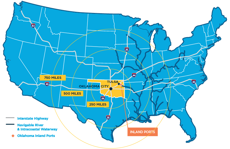 Map of the contiguous United States showing Oklahoma's location and transportation connections